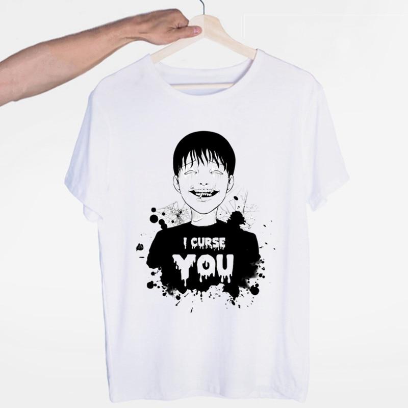 Men's Summer Fashion Men Casual Tees Uzumaki Shirt Junji Ito Horror Manga Shirts Male Funny T Shirt Harajuku Streetwear(China)