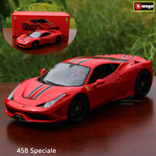 Bburago 1:18 Ferrari 458 SPECIALE car alloy model simulation decoration collection gift toy Die casting boy