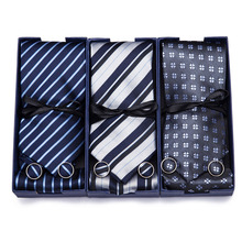 2019 Fashion Wide Tie Sets Men's Neck Hankerchiefs Cufflinks  50 colours Box gift polyester handmade High quality