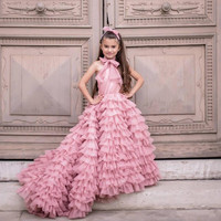 2020 New Coming Ruffles Tiered Tulle Flower Girl Dress For Special Occasion Sweep Train Custom Made Kids Pageant Gowns Vestidos