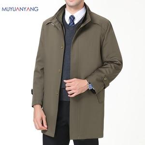Image 2 - Chaquetas informales para hombre Mu Yuan Yang, primavera y otoño, gabardina larga para hombre, novedad de 2018, gabardinas y chaquetas con cremallera