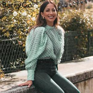 Image 4 - BerryGo Elegant floral embroidery blouse shirt women Streetwear chiffon ladies blouses Turtleneck puff sleeve female  blouse top