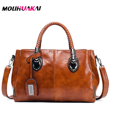 Three Spaces Vintage Oil Wax PU Leather Luxury Handbags Women Bags