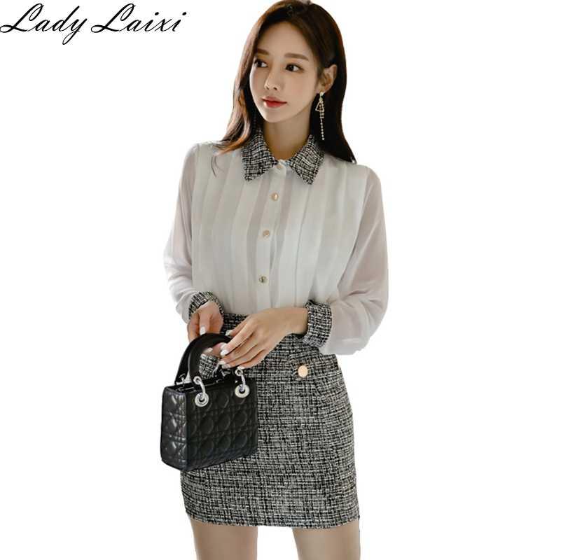 2019 otoño estilo coreano elegante 2 piezas trajes Mini Bodycon Tweed faldas y blanco Blusa de manga larga OL Conjunto de Trabajo