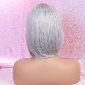 Image 3 - Alan Eaton Pruiken Korte Bobo Cosplay Pruiken Met Pony Rechte Silver Grey Synthetisch Haar Perucas Voor Vrouwen Hittebestendigheid Vezels