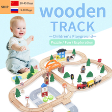 Electric Train Track Set Magnetic Educational Slot Track Accessories Wooden Railway Puzzle Station Toy Gifts toys For Kids New
