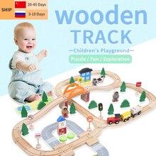 Trilha de trem elétrico conjunto magnético educacional slot pista acessórios de madeira estação de quebra cabeça brinquedo presentes brinquedos para crianças novo