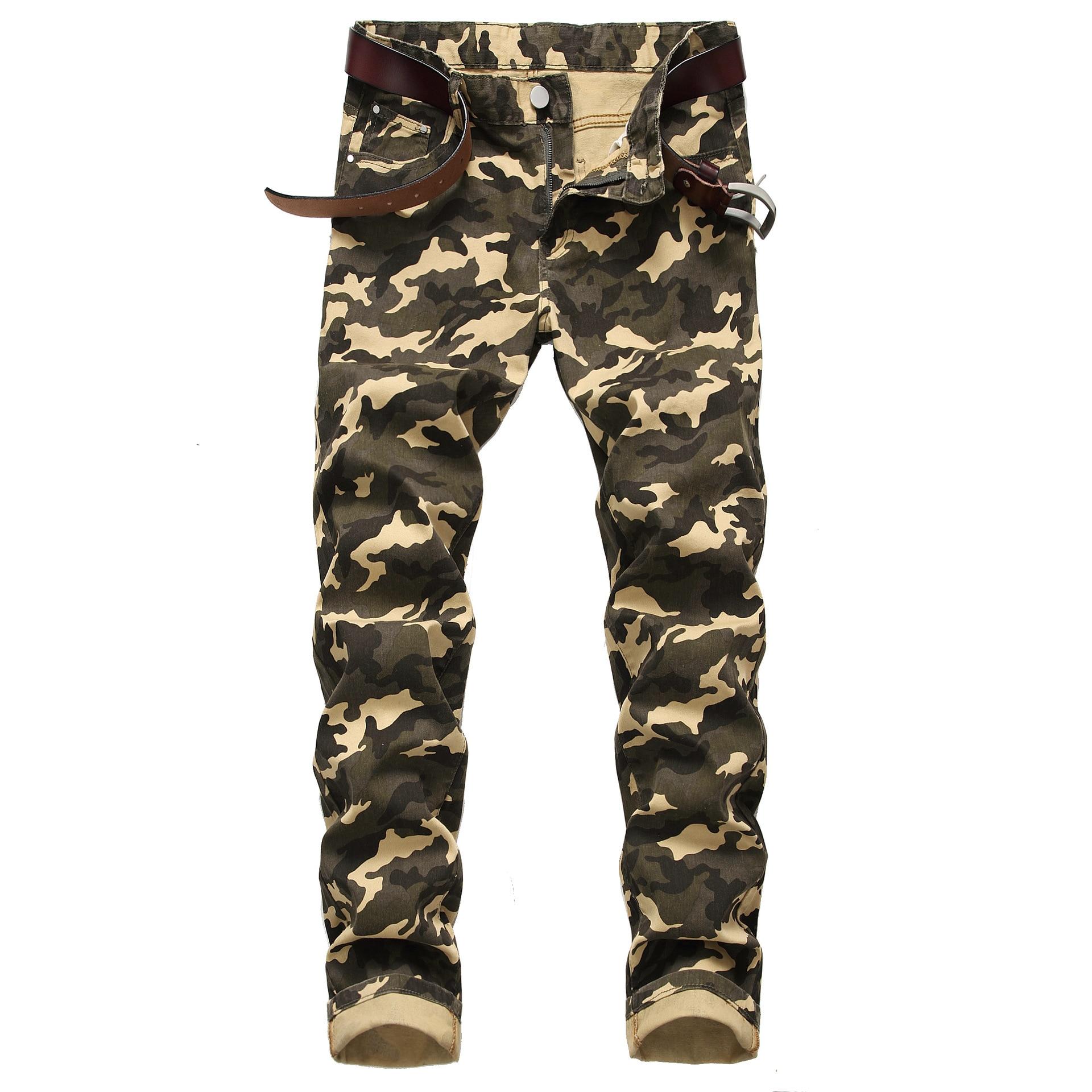 Elastic Jeans Men New Fashion Men's Camouflage Jeans Mens Slim Fit Camouflage Printed Casual Denim Pants Plus Size 28-44