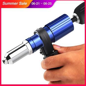 Pistola eléctrica de remachado, remachadora con tuerca y taladro adaptador, herramienta inalámbrica de 2,4mm-4,8mm 1