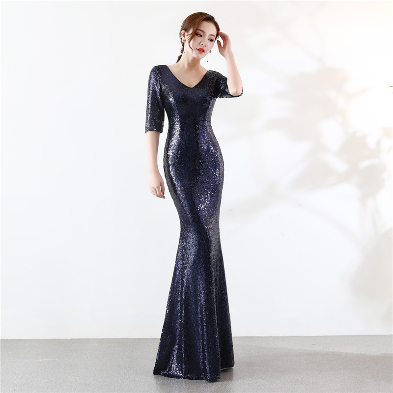 Skyyue Evening Dress Sexy V Neck Sequin Women Party Dresses Zipper Robe De Soiree 2019 Plus Size Half sleeve Formal Gowns C067 in Evening Dresses from Weddings Events