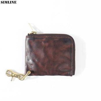 Genuine Leather Wallet Men Vintage Handmade Short Small Slim Zipper Wallets Coin Purse With Zipper Pocket Card Holder Money Bag