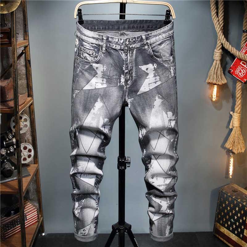 KIOVNO Men Fashion Printed Jeans Pants Washed Grey Denim Trousers Male Streetwear (2)