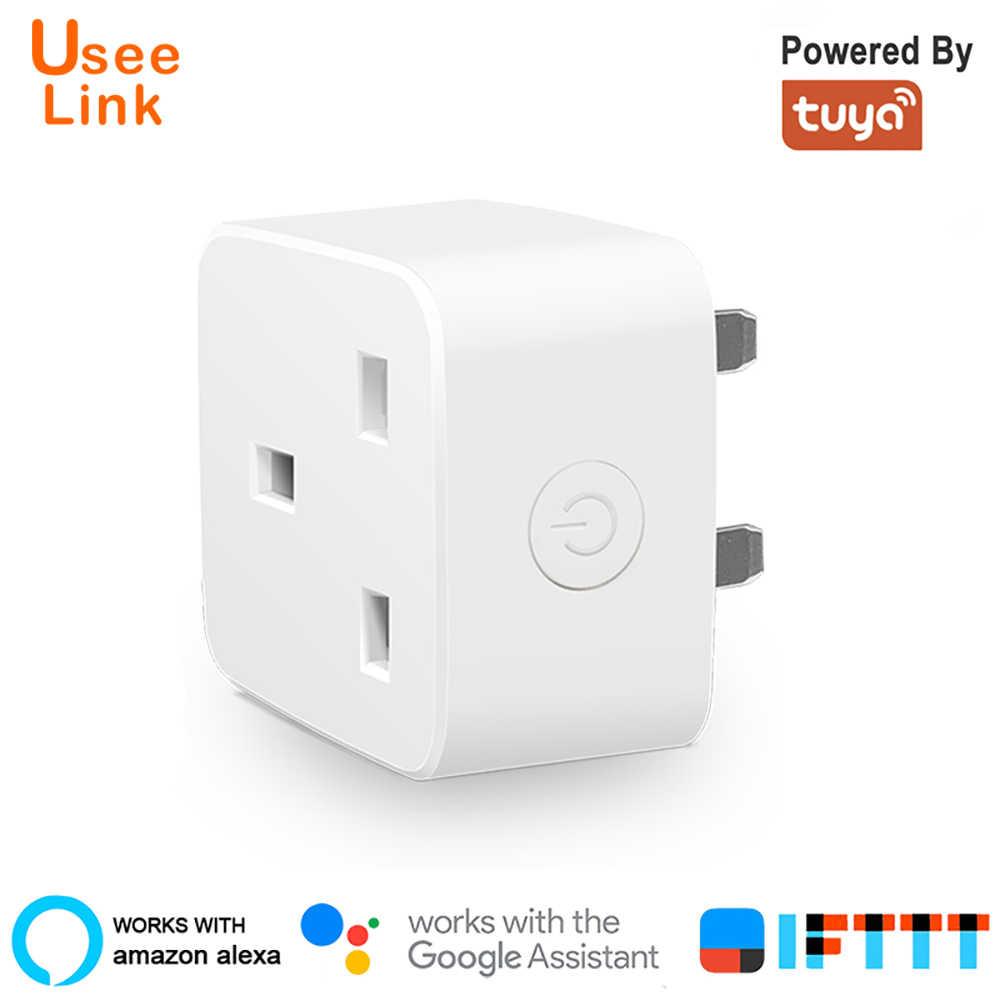 Usee Collegamento Smart Socker Spina di Alimentazione Presa Intelligente WiFi UK 10A Alimentato Da Tuya lavoro con Alexa Google Casa Mini IFTTT