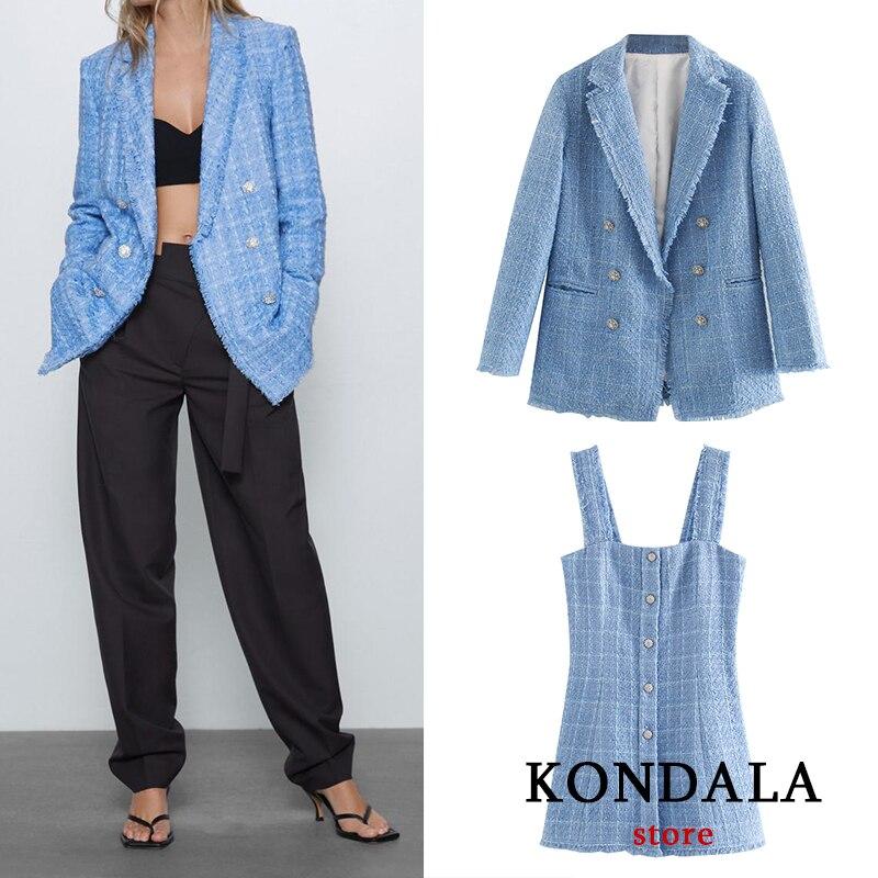 Women Blazer Za 2020 Office Lady Blue Plaid Two-piece Women Suit Single-breasted Long Sleeve Spring Cardigan Jacket