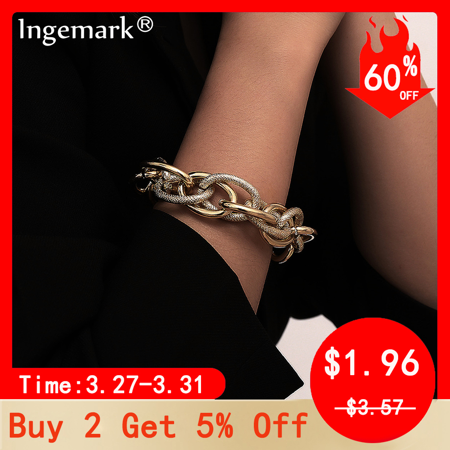 Boho Punk Heavy Metal Chunky Chain Bracelet Bangle Women Men Armband Steampunk Indian Brand Lock Bracelets Friend Couple Jewelry