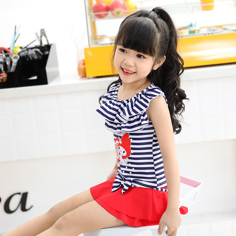 New Style KID'S Swimwear Girls Cute Sweet Stripes Cartoon Rabbit Bow Split Skirt-Two-Piece Swimwear