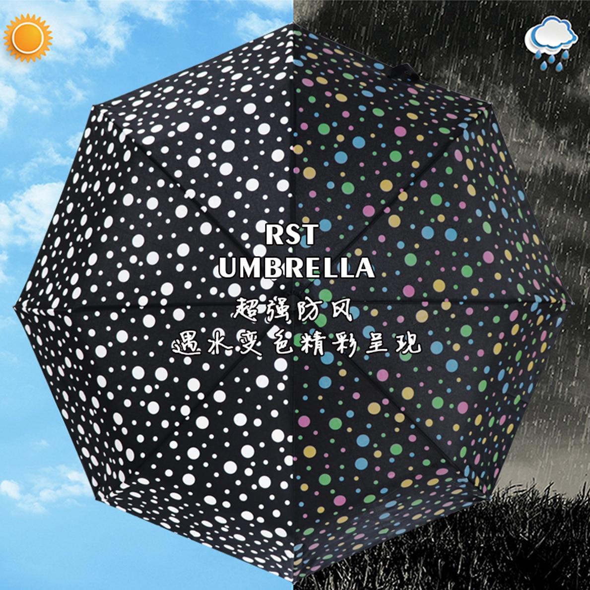 Real Star Umbrella Water Discoloration Polka Dot Automatic Umbrella Rain Or Shine Dual Purpose Tri-fold Umbrella