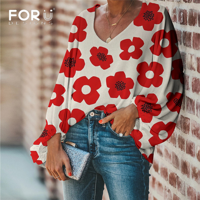 FORUDESIGNS Large Size Colorful Flower Pattern Tops and Blouses Casual Loose V-Neck Shirts Female Clothes 1