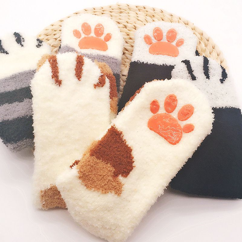 Ladies Autumn Winter Cat Claw Socks Non-slip Coral Velvet Thick Warm Socks Home Sleeping Floor CUTE WARM  Socks