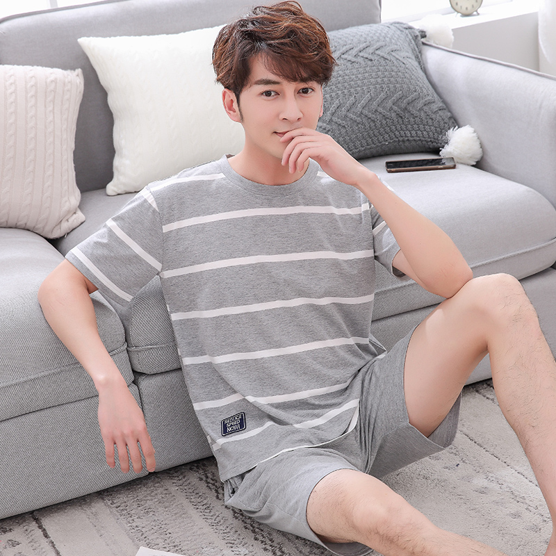 2019 Summer Casual Striped Cotton Short Sleeve Pajamas Sets for Men Sleepwear Male Homewear Lounge wear Night Suit Home Clothes