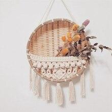 Ins Wall Tapestry Weaving Basket Flower Pot Rattan Weaving Wall Hanging Residential Decoration Macrame Plant Hanger