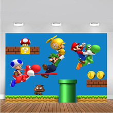 Vinyl Super Marios Run Game newborn Child Photo Background Photography Backdrops for photo studio fotografia Computer printing vinyl cloth photography backdrops wooden newborn computer printing background for photo studio cm6741