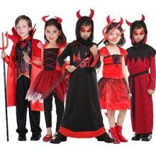 Umorden Enge Rode Hoorn Duivel Devilkin Kostuums Voor Kinderen Kind Jongens Meisjes Demon Kostuum Cosplay Fancy Dress Robe Halloween