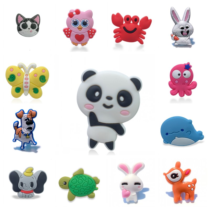 1pc Cute Pets Animals PVC Shoe Charms Shoe Accessories Rabit Shoe Decoration Panda Croc Charms Jibz Kids Party X-mas Gift