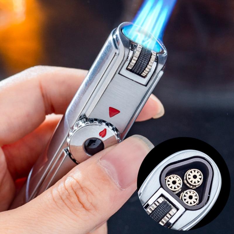 Jobon Brand Compact Wheel Butane Lighter Gasoline Spray Gun Turbine Metal Windproof GAS Cigarette Lighter Fixed Fire