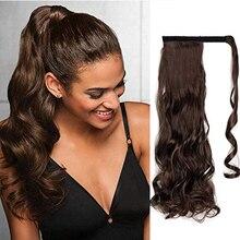 Длинные волнистые термостойкие природных клип хвост волосы для наращивания, Обёрточная бумага вокруг на синтетические волосы кусок для женщин