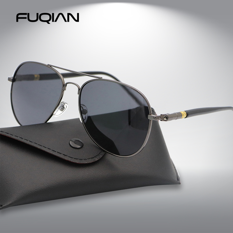FUQIAN Fashion Pilot Men Polarized Sunglasses Oversized Metal Aviation Male Sun Glasses Classic Black Driving Shades UV400