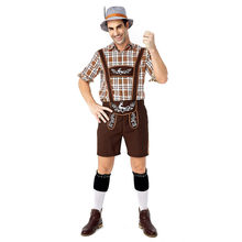 New German Traditional Oktoberfest Clothing Plaid Shirt Embroidered Bib Suit Brown Casual Fashion Beer Festival Men's Suit#LR3(China)