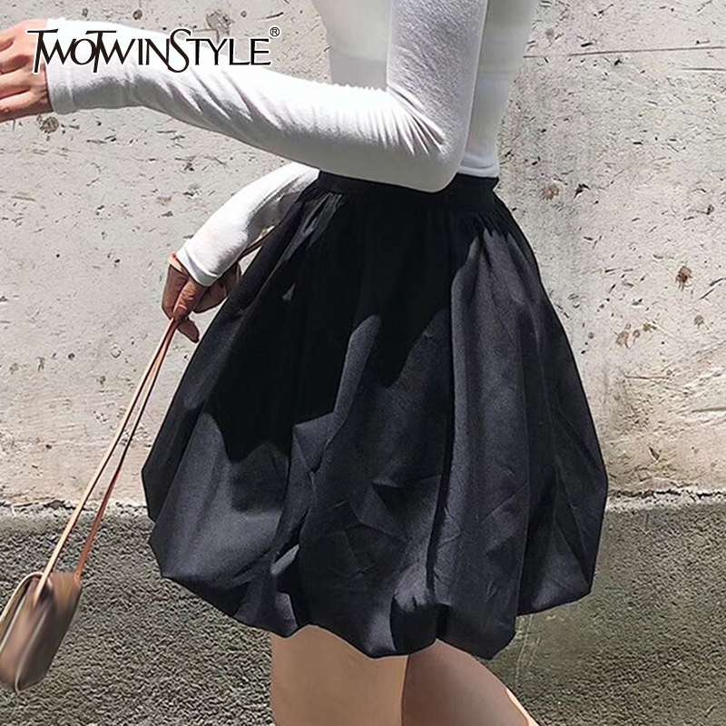 TWOTWINSTYLE Vintage Ball Gown Skirts Women High Waist Sweet Style Mini Ruched Skirt For Female Clothing Spring Summer Fashion