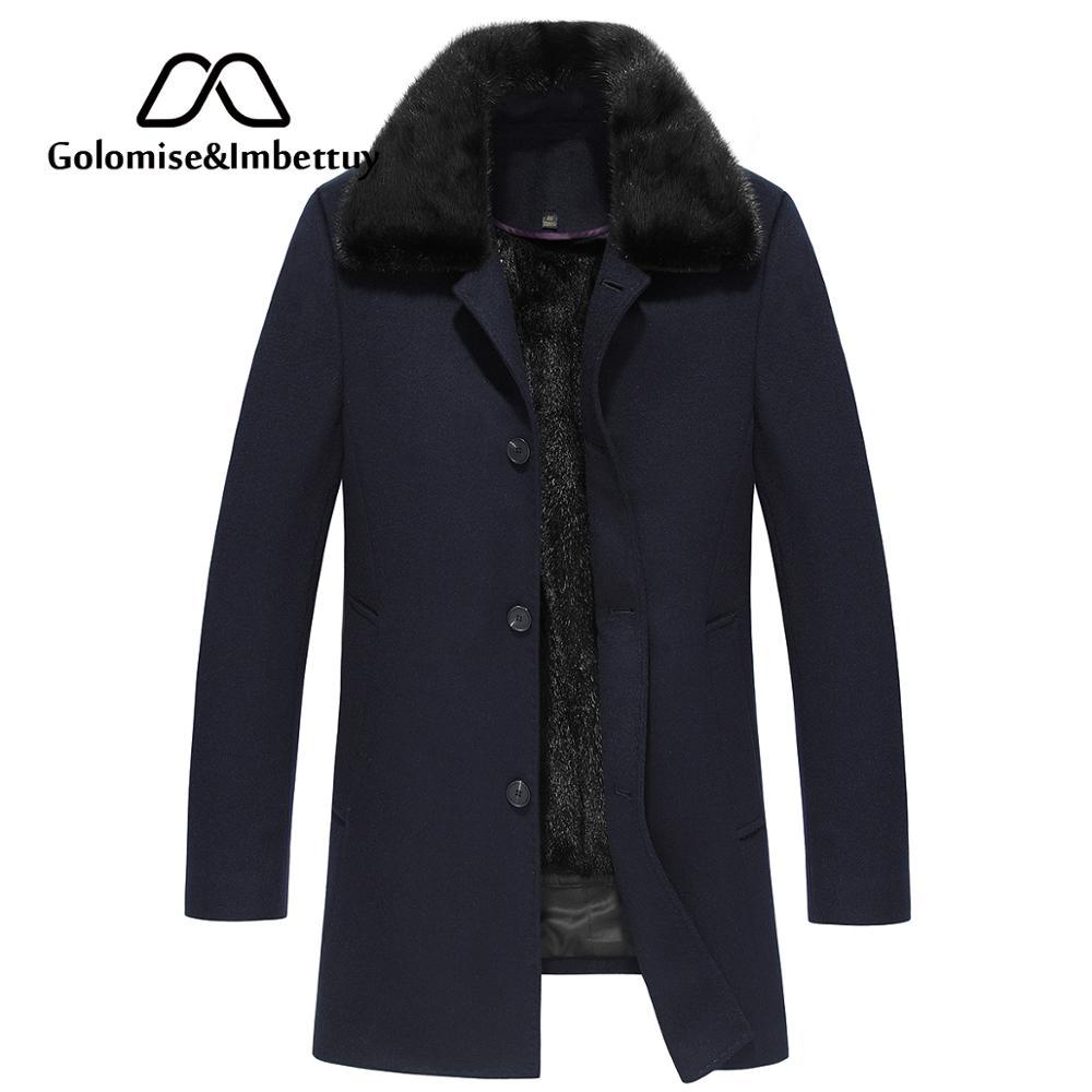 Golomise&Imbettuy Fashion Men Fleece Nick Jacket/Coat Real/Genuine Natural Mink Fur Lining Shearling Jacket Winter Overcoat