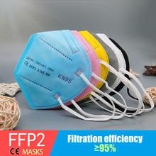 Multicolorido adulto 5 camadas preto ffp2 kn95 mascarilla respirador tecido máscara protetora kn95 filtro boca dustproof reusável ffp2mask