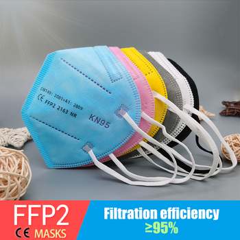 Multicolor  5 Layers Black FFP2 KN95 Mascarilla Respirator Fabric Face Mask KN95 Filter Mouth Dustproof Reuseable ffp2mask