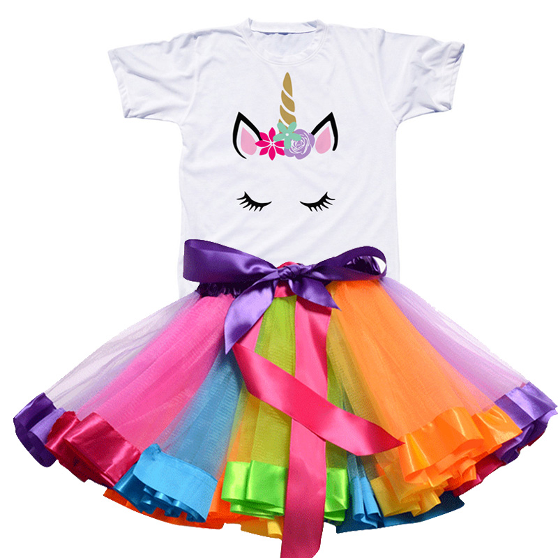 Children Clothing Sets for Baby Girls Summer 2019 New Fashion Unicorn Tops Kid Clothes Girl Tees Princess Birthday Sets Clothes 3
