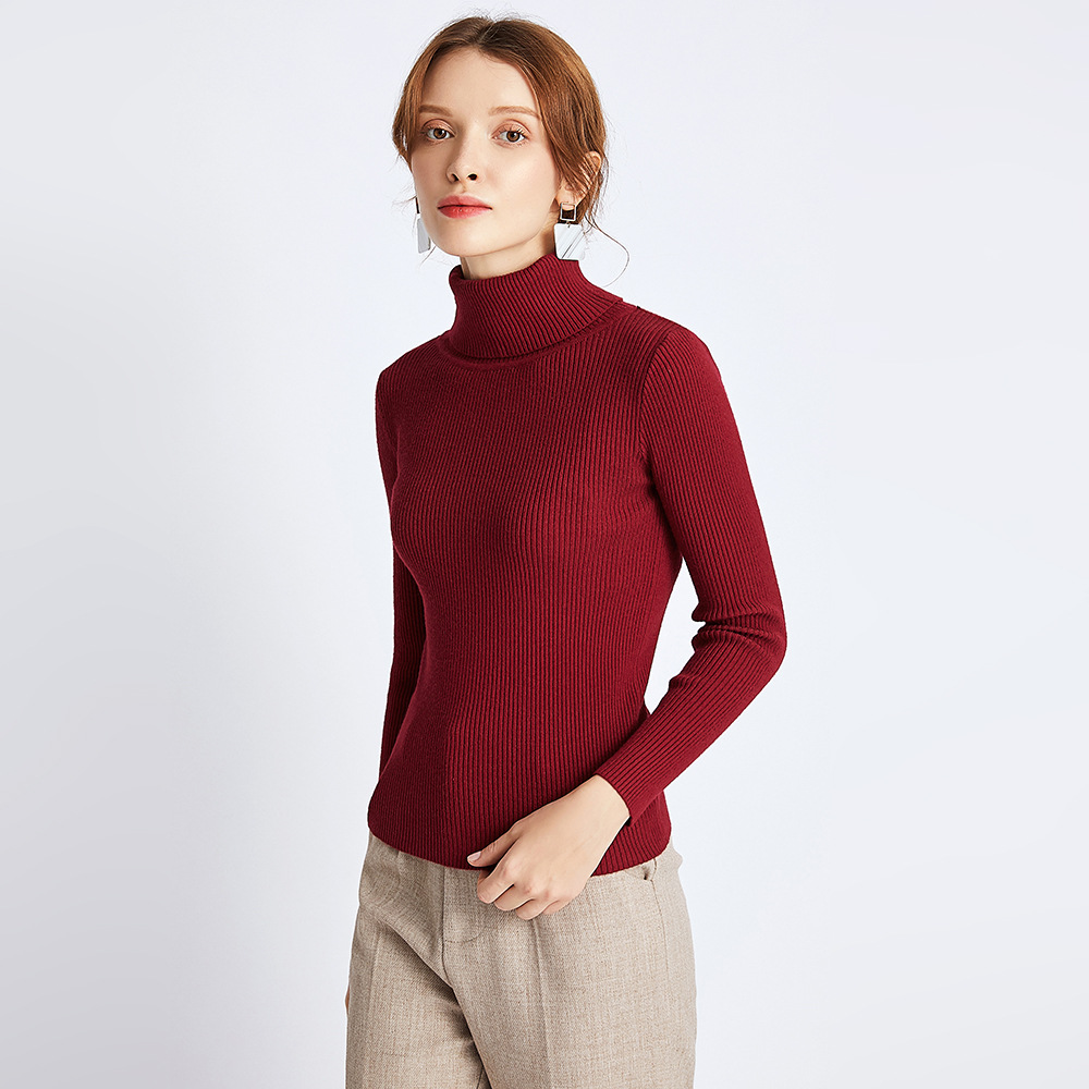 USPOP 2019 Women clothing Thick turtleneck pullovers casual solid color slim sweaters winter basic knit shirt in Pullovers from Women 39 s Clothing