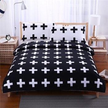 Black White 3D Home Textile 3-piece Cotton Sheet Bedding Set Nordic Couple Bedroom Double Bed King Size Duvet Cover Pillowcases