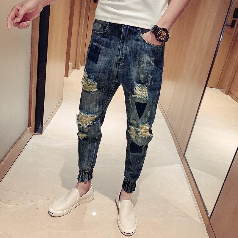 YASUGUOJI Fashion Knee Hole Slim Distressed Jeans Men Ripped Men Jeans Rock Streetwear Mens Patch Jeans Men's Jeans Trousers