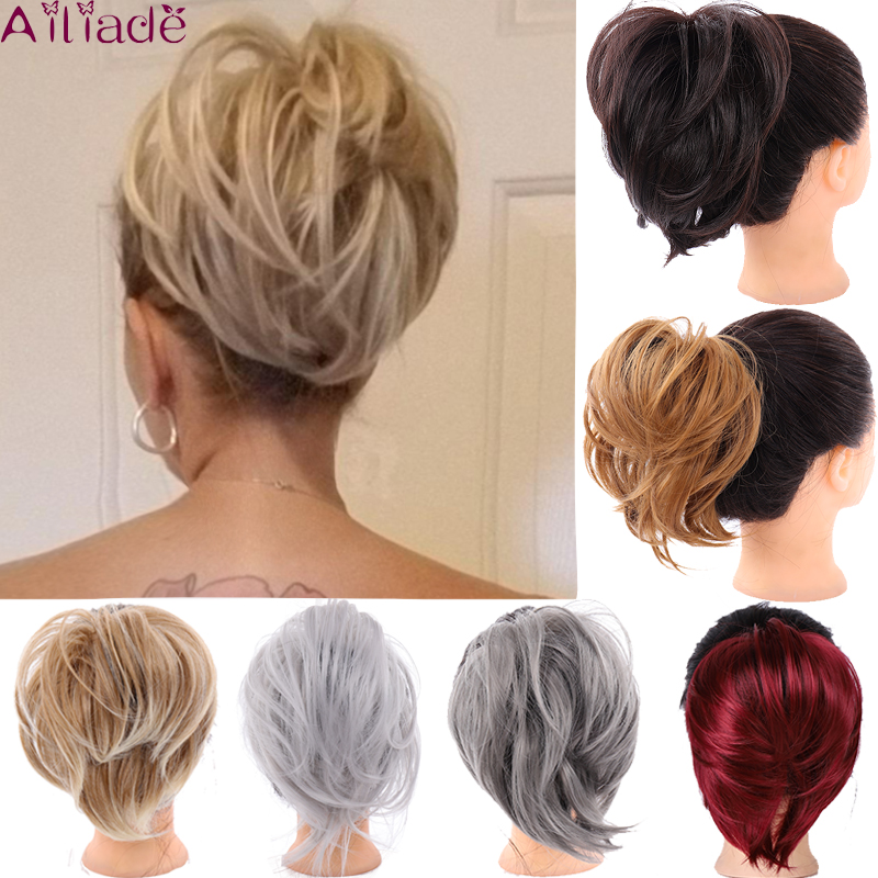 AILIADE Women Messy Elastic Rubber Band Straight Bun Donut Chignon Synthetic Scrunchie Wrap On Hair Ring For Ponytail Hairpieces