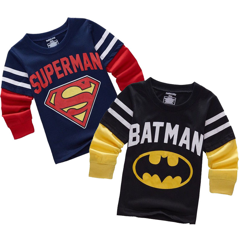 Batman Superman Cartoon Kids Long Sleeve Boys T Shirt Cotton Tops Slim Fit Tee Ropa Bebe Tshirt Autumn Camiseta Children Clothes