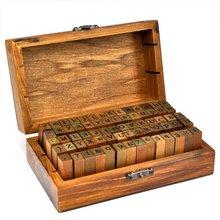 Резиновый штамп Алфавит символ цифры деревянная коробка набор стиль печати деревянные буквы 70 шт