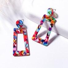 BICUX Fashion Korean Statement Acrylic Long Drop Earrings for Women Elegant Geometric Leopard Dangle Earring Modern Jewelry