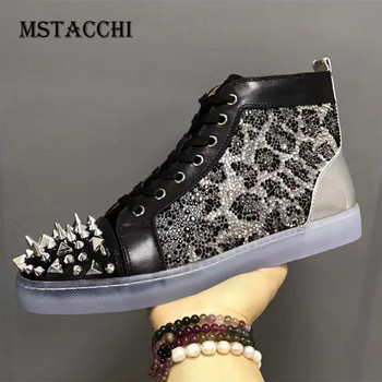 MStacchi 2020 Fashion Men Casual Shoes Spiked Rivets Genuine Leather Lace-Up Comfortable Male Sneakers Trend Sequins Men Shoes