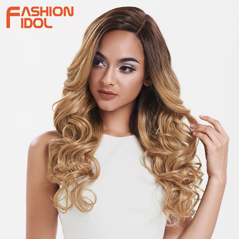 FASHION IDOL Hair Synthetic Wig Long Wavy Ombre Brown Deep Wave Wig Cosplay 22Inch Wigs For Black Women Synthetic Lace Front Wig
