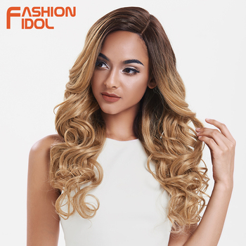 цена на FASHION IDOL Hair Synthetic Wig Long Wavy Ombre Brown Deep Wave Wig Cosplay 22Inch Wigs For Black Women Synthetic Lace Front Wig