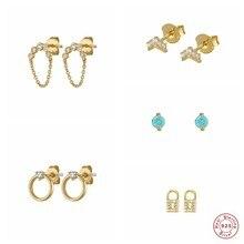 MINI boucles d'oreilles en argent Sterling S925 pour femmes et filles, bijoux fins de luxe en Zircon scintillant