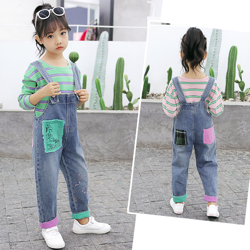 Cute Girls Sets New Long Sleeve Striped T-shirts + Denim Overalls 2 Pieces Baby Girls Clothes Casual Kids Outfits Vestidos