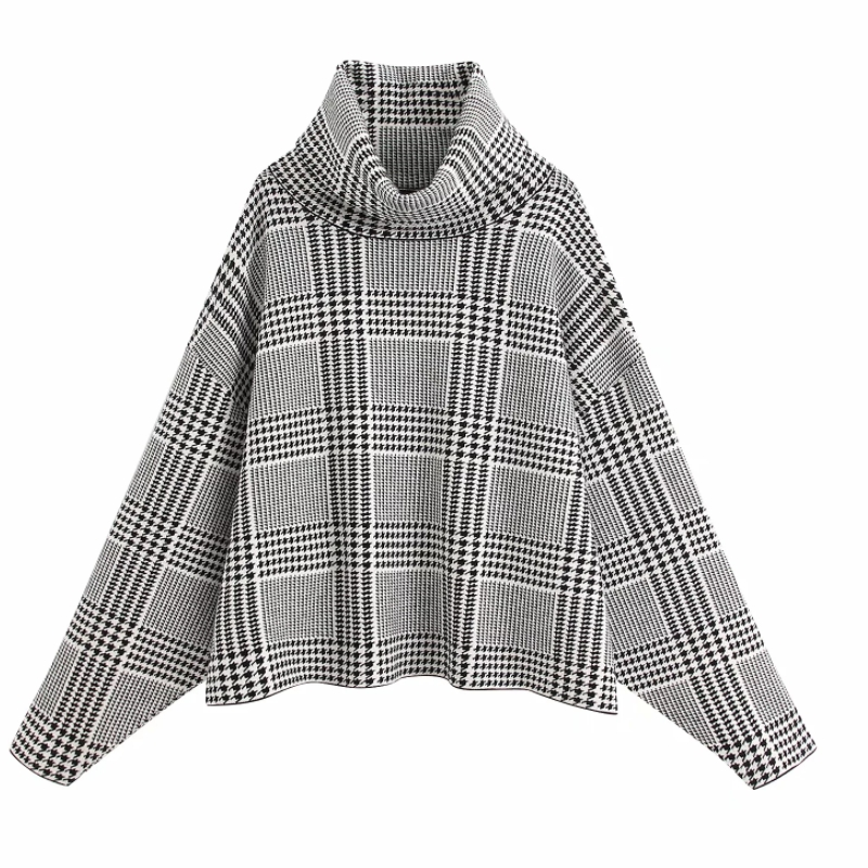 Women Vintage Houndstooth Pattern Casual Loose Knitting Sweater Female Turtleneck Plaid Leisure Sweaters Oversize Chic Tops S246